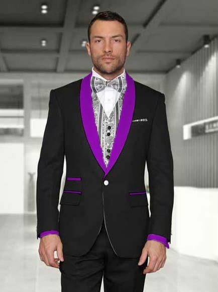 SKU#SM3261 Men's 1 Button Black/Purple Modern Fit Shawl Lapel Two toned Lapel Evening Tuxedos
