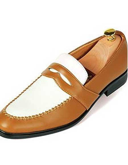 men's slip-on fashionable loafers cuban heel cognac shoes