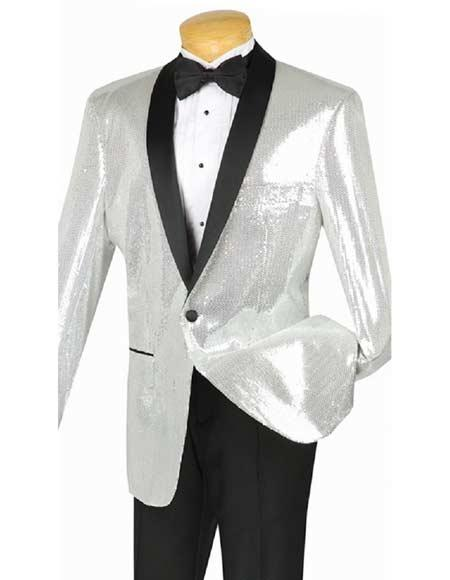 New Vintage Tuxedos, Tailcoats, Morning Suits, Dinner Jackets Mens Silver Sequin Dinner Jacket Single Breasted Shawl Black Lapel Modern Fit Blazer $160.00 AT vintagedancer.com