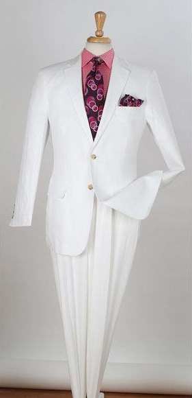 Mens 2 Piece Single Breasted Notch Lapel  Two Buttons Side Vents Regular Fit Linen White Suit