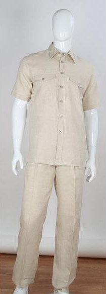 Mens Natural Stripe Accent Shirt Safari Style 2 Piece Short Sleeve Double Chest Pockets Linen Casual Two Piece Walking Outfit For Sale Pant Sets Suit