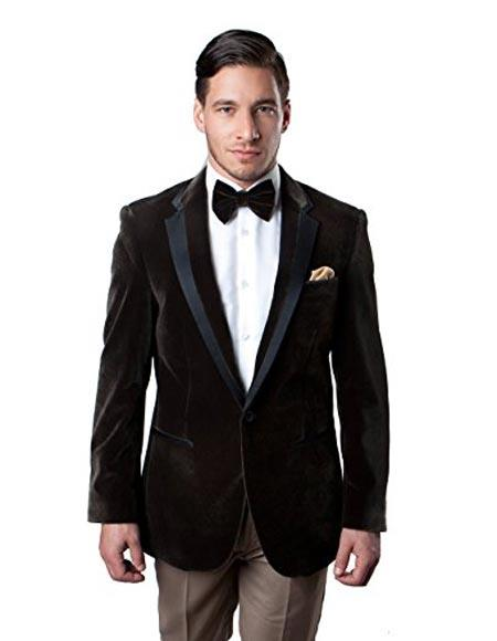 Mens Brown Velvet Blazer Tuxedo Looking Sport Coat