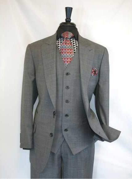 Men's Charcoal Grey Single Breasted 2Buttons Peak Lapel Side VentsSuit