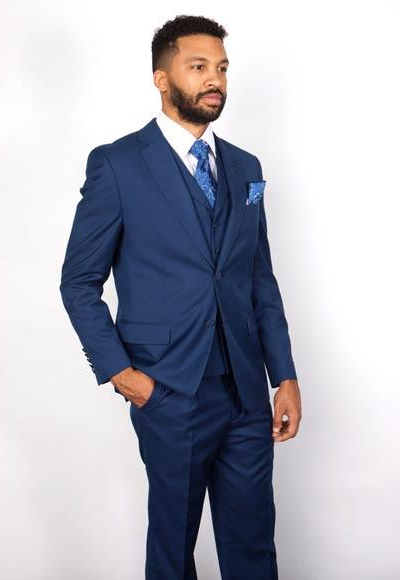 Mens 3 Piece Notch Lapel Single Breasted 100% Wool Indigo ~ Bright Blue Blue Vested Suit