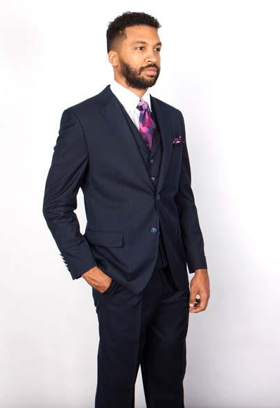 Mens Notch Lapel 2 Button Single Breasted 100% Wool Vested Suit Dark Navy