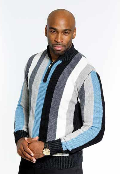 Men's Sweater Half Zip Long Sleeve Black/Blue Casual Pullover