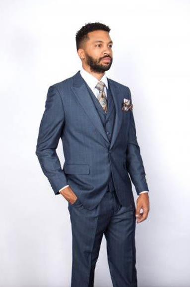 Men's Blue Windowpane One Button Single Breasted Peak Lapel 1 Wool Vested Suit