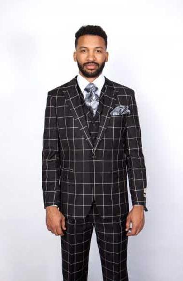 Men's One Button Single Breasted Peak Lapel Black/White Windowpane 1 Wool Vested Suit
