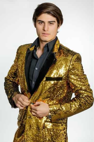 70s Jackets, Furs, Vests, Ponchos Mens Gold Sequins Velvet Lapel 2 Button Single Breasted Blazer $165.00 AT vintagedancer.com