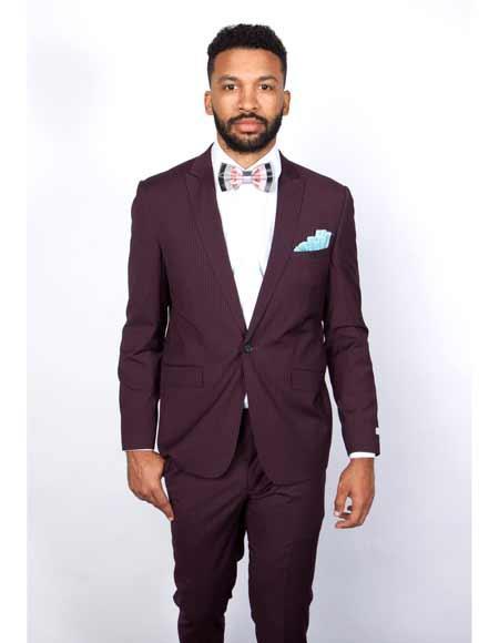 Buy SM3359 Tapered Leg Lower Rise Pants & Get Skinny Burgundy 1 Button Slim Fit Peak Lapel Pinstripe Suit