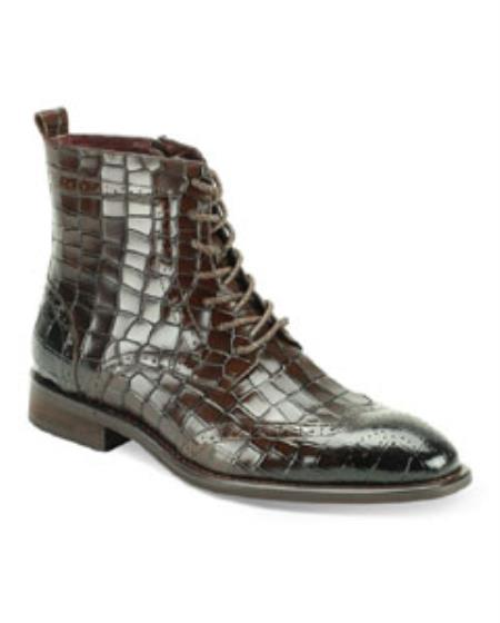 Buy SS-KT07 Mens Dress Casual Boots GIOVANNI CORBIN Brown Shoes Wing Tip Gator Print Leather