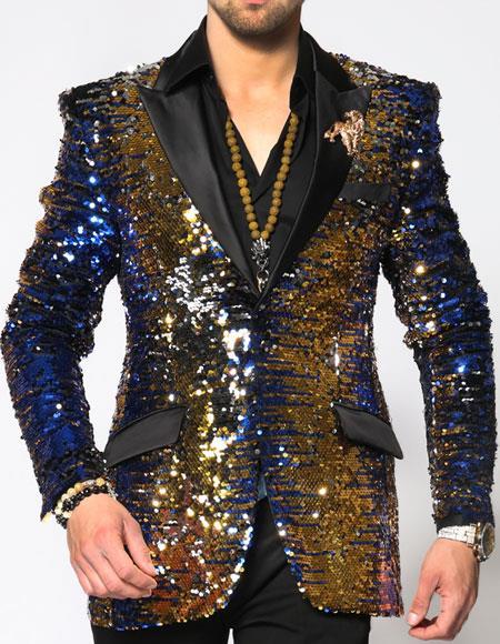 Buy SS-KT18 Angelino Brand Mens Blue/Gold/Black Fashion Blazer Sport Coat Sequin paisley dinner jacket