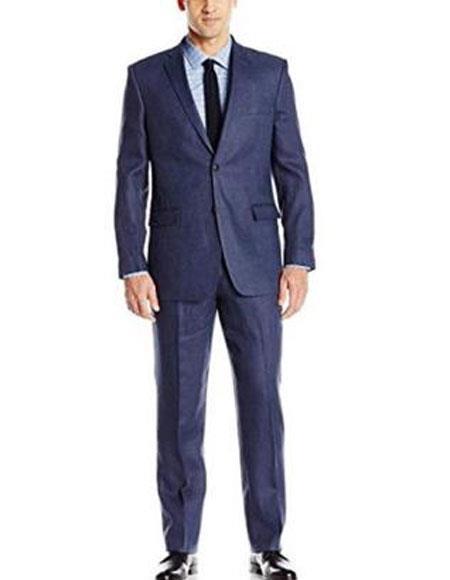 Mens 2 Buttons Linen Fabric Summer Suit Jacket & Pants Blue