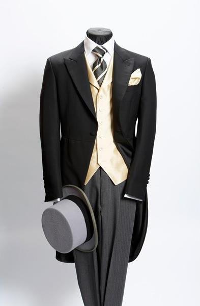 Mens Plain Black Morning Coat Light Weight Wool With Grey Stripe Pant