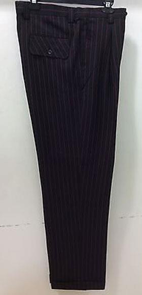 1920s Men's Pants, Trousers, Plus Fours, Knickers Mens Wide Leg Dress Slacks Stripe  Pinstripe BlackRed $65.00 AT vintagedancer.com