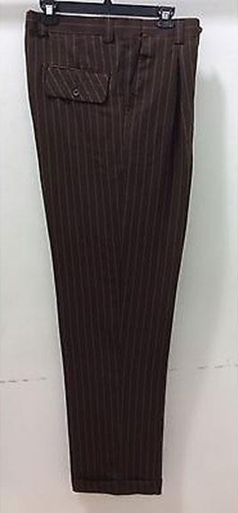 1920s Men's Pants, Trousers, Plus Fours, Knickers Mens Wide Leg Dress Slacks Stripe  Pinstripe BrownTan $65.00 AT vintagedancer.com