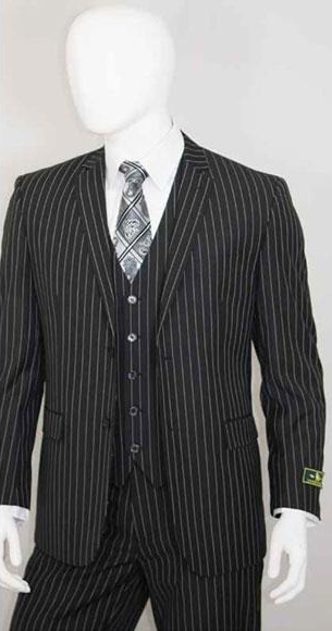 Mens Bold Chalk White Stripe 2 Buttons With Vest 3 Pieces Jet Liquid Black
