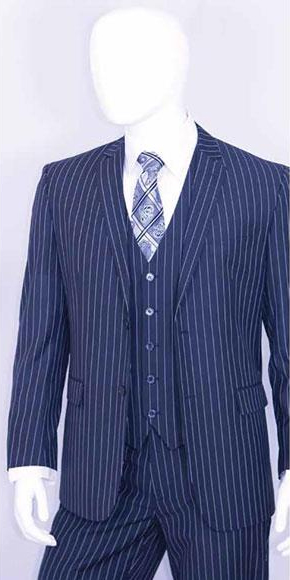 1920s Men's Suits History Mens Bold White 2 Buttons Vest 3 Pieces Teal Cobalt Blue Pinstripe $140.00 AT vintagedancer.com