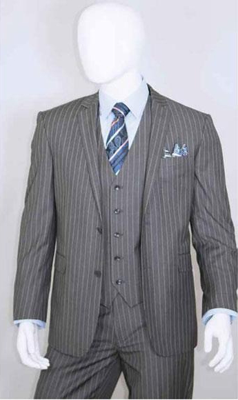 1920s Men's Suits History Mens Bold Chalk White Stripe 2 Buttons Vest 3 Pieces Medium Grey $140.00 AT vintagedancer.com