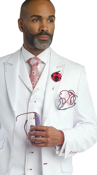 Buy SM3458 Mens White 3 Piece Red Stitch Peak Lapel Vested Formal Tuxedo Suit