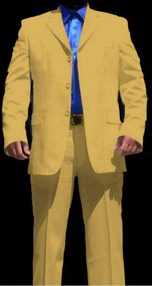 Buy CH289 Men's Three Buttons Super Cool Lightest Weight Fabric Gold ~ Mustard ~ Yellowish Suit