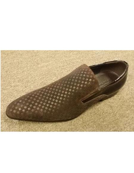zota brand mens mini checkered pattern long toe brown leather and suede slip on shoe