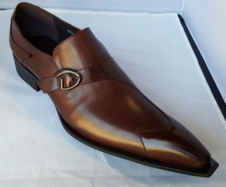Buy SM3468 Zota Mens Leather Buckle Slip Style Brown Pointy Toe Shoe
