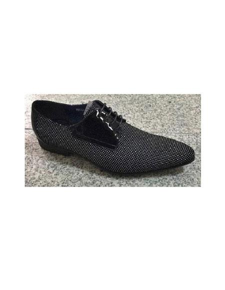 SKU#SM3467 Zota Brand Mens Black/White Leather Trim Pin Dot Pattern Laceup Fashionable Shoe