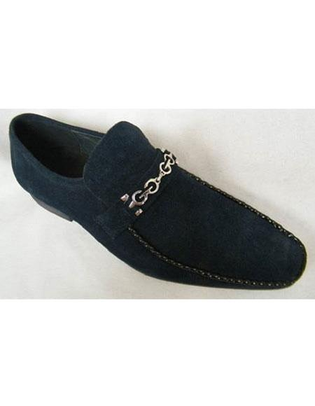 SKU#SM3479 Zota Brand Mens Suede Leather Navy Chain Link Strap Slip On Style Shoes