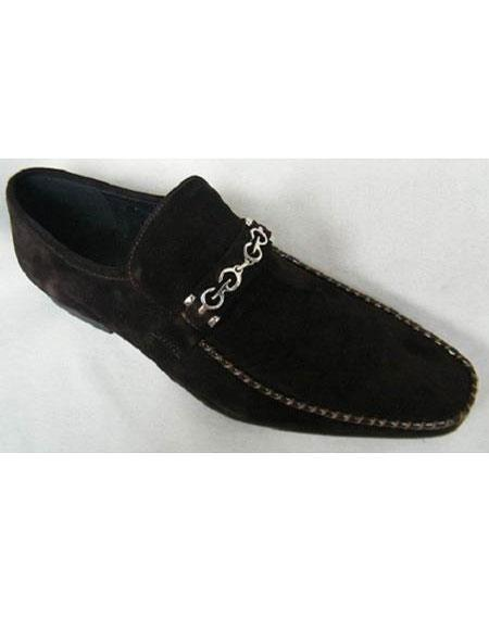 SKU#SM3472 Zota Brand Mens Brown Suede Leather Chain Link Strap Style Slip On Fashion Shoes
