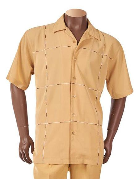 1960s Men's Clothing, 70s Men's Fashion Mens Cubic Block Stitched Design Button Up Short Sleeve Honey Mustard Casual Leisure Suit $125.00 AT vintagedancer.com
