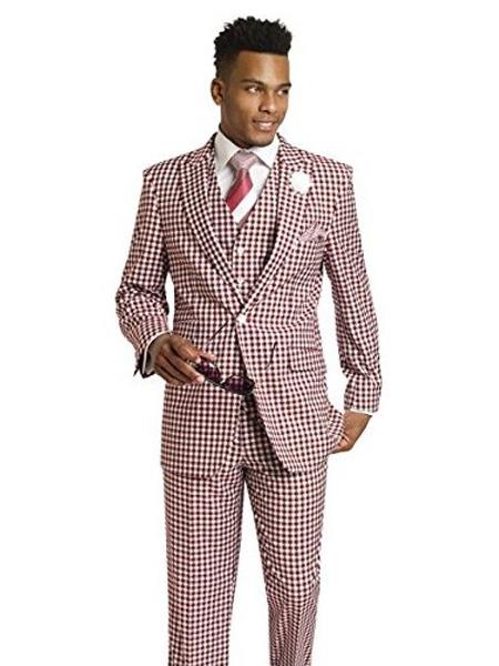 1920s Mens Suits | Gatsby, Gangster, Peaky Blinders Mens Houndstooth Tweed BurgundyWhite 3 Piece Check Dress Style Mens Suit Vested 1 Button Ticket Pocket $160.00 AT vintagedancer.com