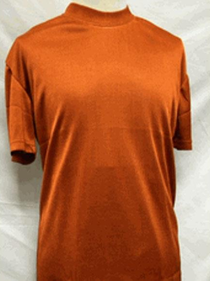 Mens Stylish Mock Neck Shiny Short Sleeve Rust Shirt