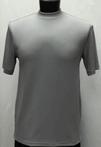 Mens Silver Classy Mock Neck Shiny Short Sleeve Stylish Shirt