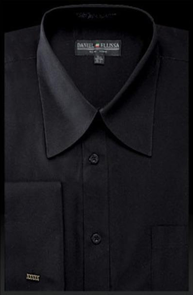 NTDS3008 Best Cheap Priced Designer Sale Mens Solid Black French Cuff Curved Pat Riley Collar Dress Shirt
