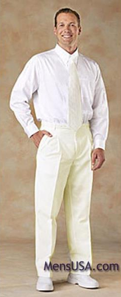 Ivory ~ Cream ~ Off White Pleated or Flat Front Dress Rayon Fabric Pant Slacks For Men unhemmed unfinished bottom