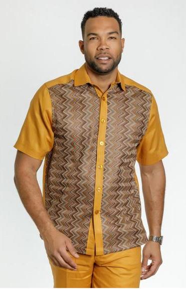 Men's Vintage Style Shirts Mens Short Sleeve Style Gold Linen Modern Fit Casual Dress Shirt Walking Suit Set Pants Included $180.00 AT vintagedancer.com