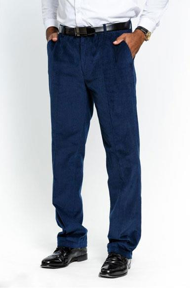 Mens Stylish Flat Front Corduroy Navy Formal Dressy Pant