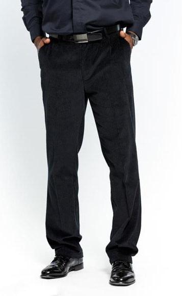 Mens Stylish Flat Front Corduroy Formal Black Dressy Pant