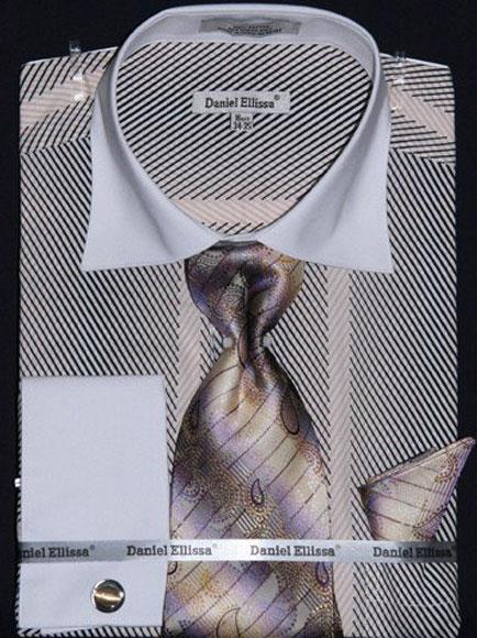 Buy CH462 Men's Stripe Beige Two Tone French Cuff 100% Cotton Fashion Shirt Tie & Hanky Set