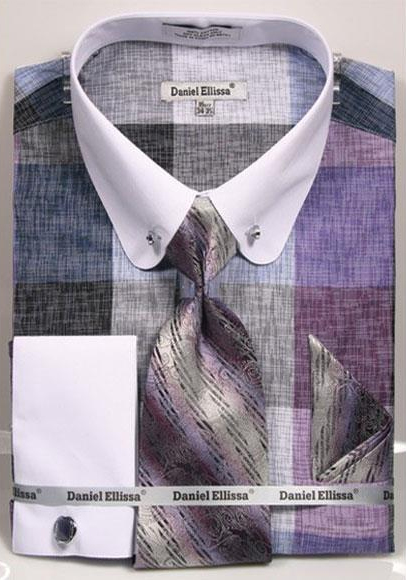 Buy CH467 Men's Check Designed Lavender Two Tone French Cuff 100% Cotton Fashion Shirt Tie & Hanky Set