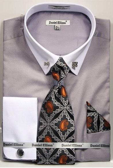 Mens Solid Pattern French Cuff 100% Cotton Fashion Dark Grey Shirt with Tie & Hanky Set