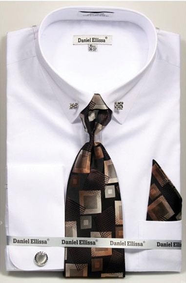 Mens White Solid Pattern French Cuff 100% Cotton Fashion Shirt with Tie & Hanky Set