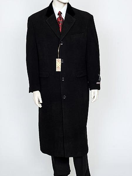 Men's Vintage Style Coats and Jackets Mens Black Velvet Notch Collar WoolCashmere 4 Button Overcoat $249.00 AT vintagedancer.com