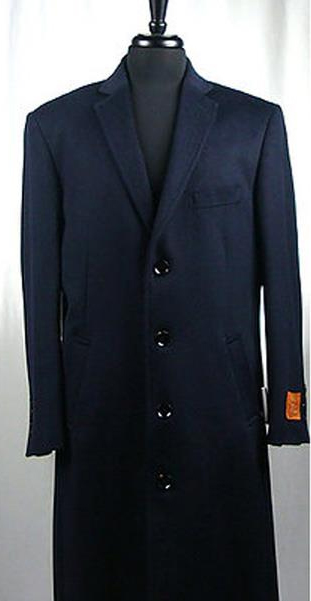 Buy SM3646 Men's Wool Blend 4 Button Single Breasted Navy Blue Bravo Top Overcoat