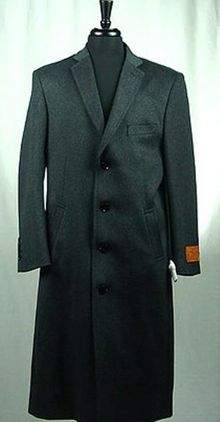 men's wool blend single breasted 4 button bravo top overcoat charcoal grey