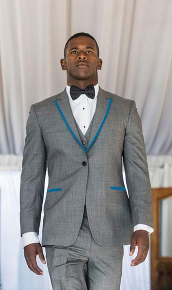 SKU#CH525 Men's Gray ~ Grey Tuxedo Suits Two Toned Sky Baby Blue or Turquoise Trimmed 2 Buttons Notch Lapel