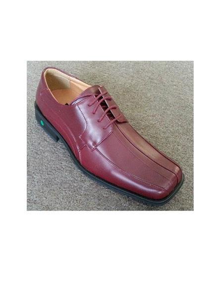 Burgundy Shoe Leather Lace Up Style Dress