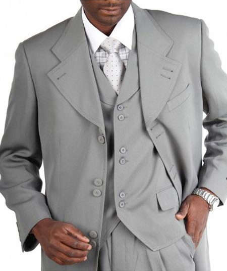 Men's Light Grey ~ Gray Zoot Vested Fashion Suits Pleated Pants