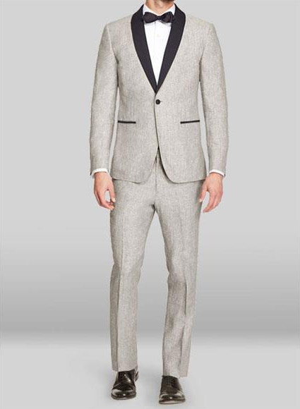 Mens Linen Fabric tuxedos Suit Available in Black or Light Grey or Dark Navy Blue Suit For Men or Light Khaki ~ Tan (Black Lapel ) and also Available in 2 Button Notch Lapel